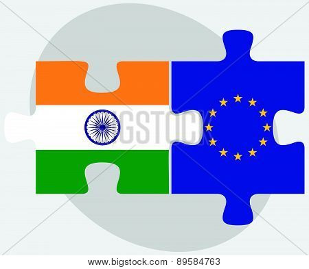 India And European Union Flags In Puzzle