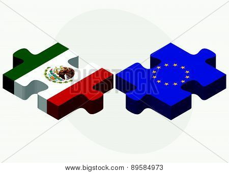 Mexico And European Union Flags In Puzzle