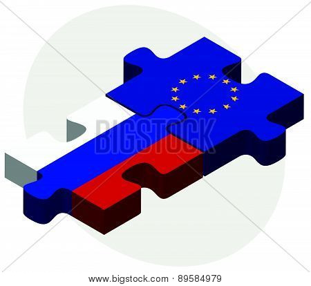 Russian Federation And European Union Flags In Puzzle