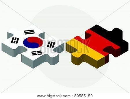 South Korea And Germany Flags In Puzzle