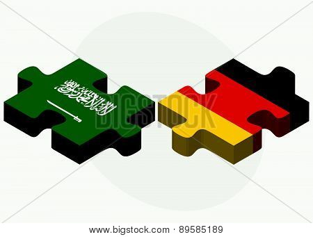 Saudi Arabia And Germany Flags In Puzzle