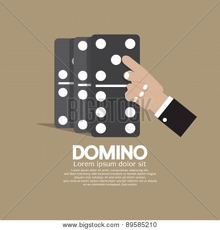 Finger Pushing To Domino Row.