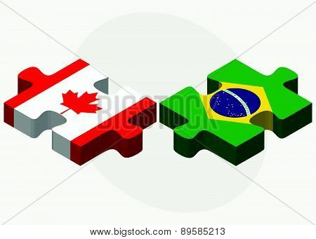 Canada And Brazil Flags In Puzzle