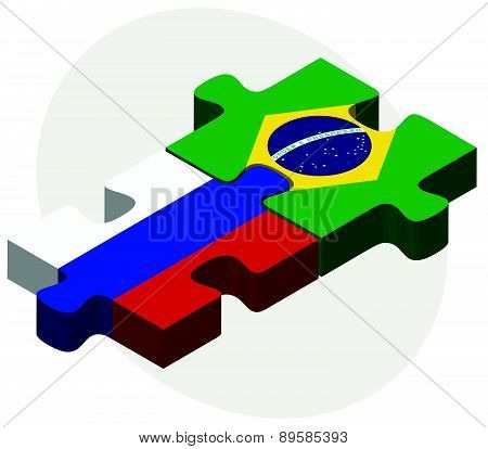 Russian Federation And Brazil Flags In Puzzle
