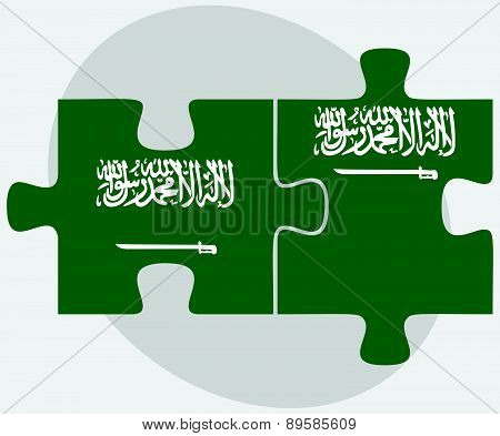 Saudi Arabia And Saudi Arabia Flags In Puzzle