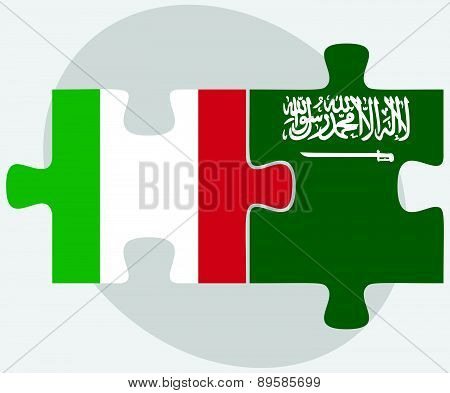 Italy And Saudi Arabia Flags In Puzzle