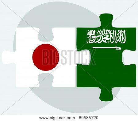 Japan And Saudi Arabia Flags In Puzzle