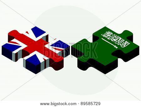 United Kingdom And Saudi Arabia Flags In Puzzle