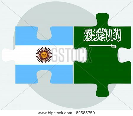 Argentina And Saudi Arabia Flags In Puzzle