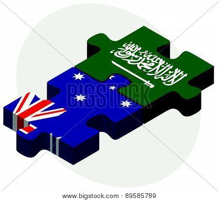 Australia And Saudi Arabia Flags In Puzzle