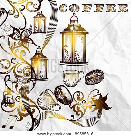 Antique Coffee Background With Grains And Shiny Lamps On A Paper Texture