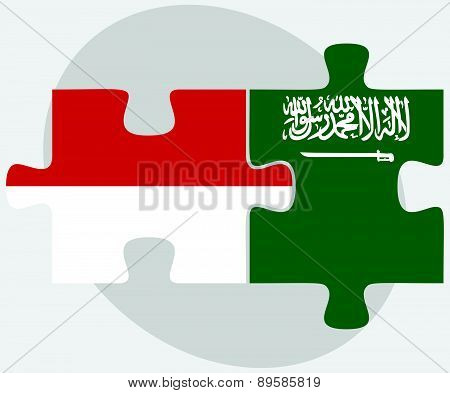 Indonesia And Saudi Arabia Flags In Puzzle