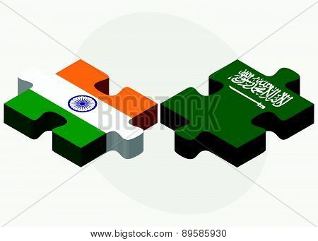 India And Saudi Arabia Flags In Puzzle