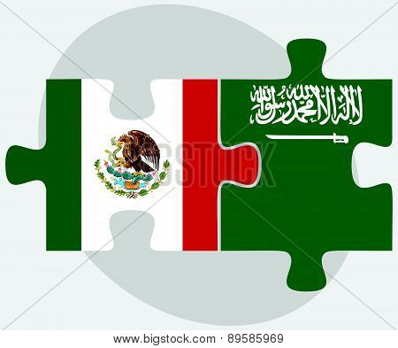 Mexico And Saudi Arabia Flags In Puzzle