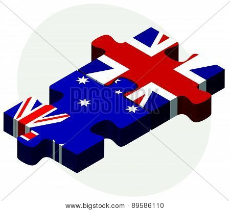 Australia And United Kingdom Flags In Puzzle