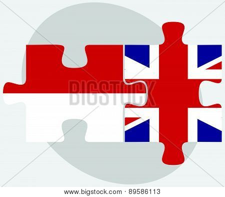 Indonesia And United Kingdom Flags In Puzzle
