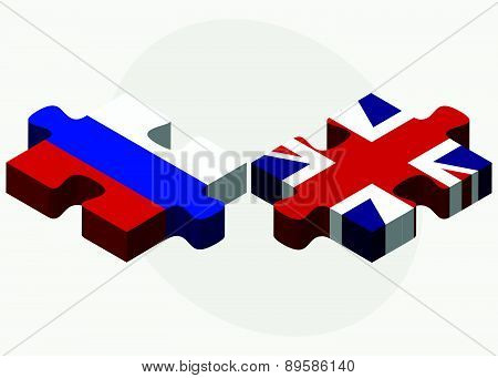 Russian Federation And United Kingdom Flags In Puzzle