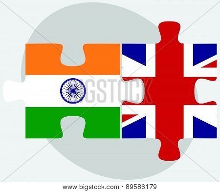 India And United Kingdom Flags In Puzzle