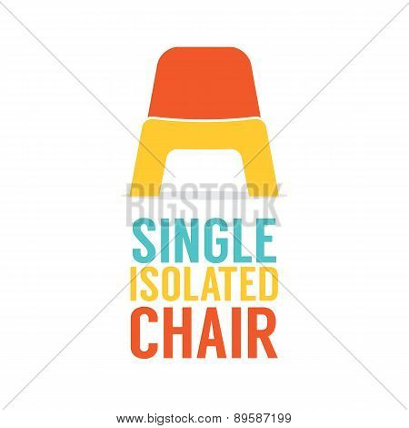 Single Colorful Plastic Chair On White Background.