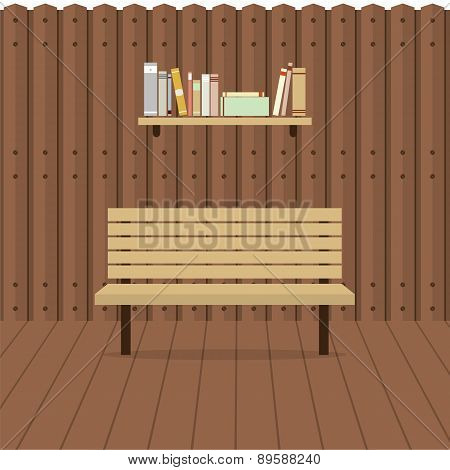 Empty Chair On Wooden Wall With Bookshelf.