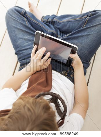 beauty teenager with tablet pc indoors