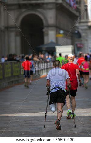 One Legged Maraphon Runner