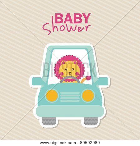 Baby Shower Design Over Lineal Background Vector Illustration