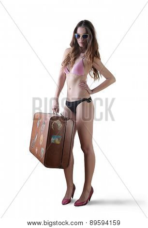 Girl travelling to the beach