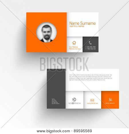 Modern simple business card template with flat mobile user interface and personal photo
