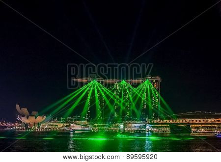Light Show At Singapore Marina Bay Sands