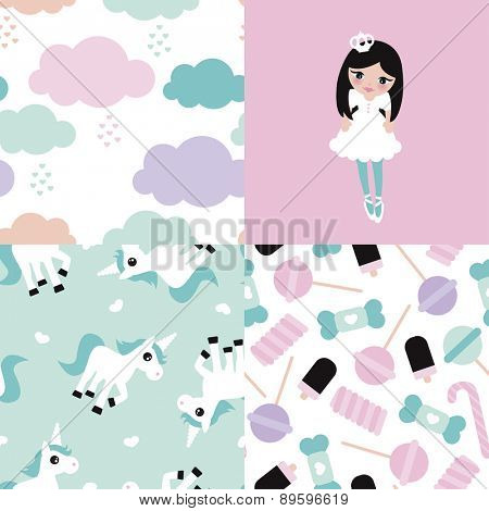 Seamless adorable princess unicorn and lollipop candy illustration girls background set collection pattern in vector