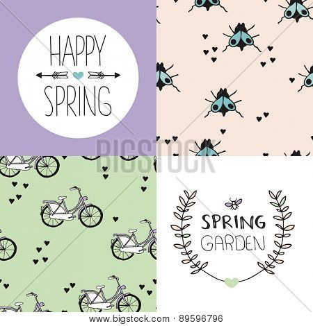 Happy spring garden postcard design and little bugs and insects fly and bicycle illustration background pattern in vector