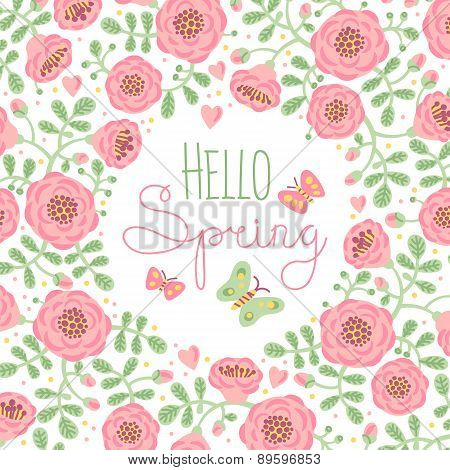 Season card Hello Spring with cute flowers and butterflies.