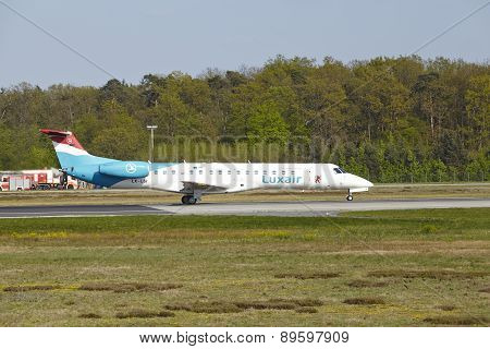 Frankfurt Airport - Embraer Erj-145Lu Of Luxair Takes Off