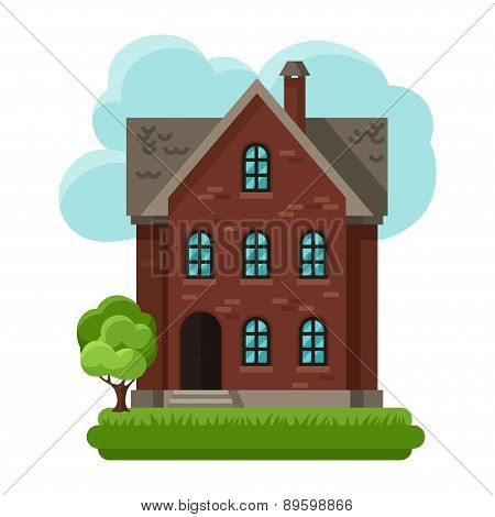 Illustration of old brick cottage on clouds background