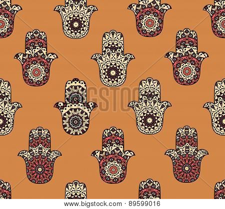 Seamless pattern with hamsa