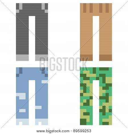 illustration pixel art icon pant