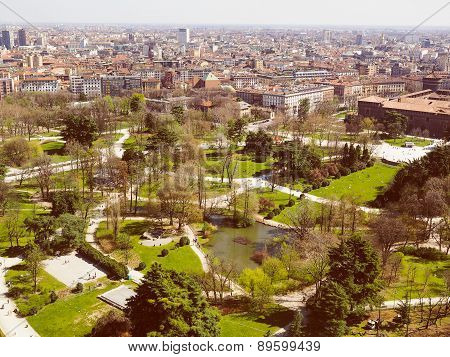 Retro Look Milan Aerial View