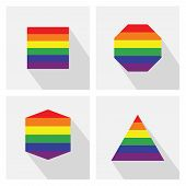 stock photo of octagon shape  - Pride flag stripe color icons in different shapes and long shadows  - JPG