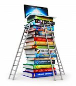 pic of hardcover book  - Stack of color hardcover books with stepladders and laptop or notebook computer PC on top isolated on white background - JPG