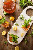 stock photo of iced-tea  - Homemade Iced Tea and Lemonade with Mint - JPG