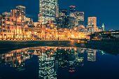 stock photo of washington skyline  - Seattle Skyline Water Reflections - JPG