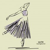 picture of tutu  - art sketched beautiful young ballerina with long tutu in pose of dance - JPG