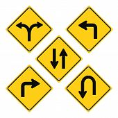 stock photo of hazard  - Road Signs Hazard Set Yellow Vector Icons - JPG
