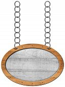 pic of oval  - Empty oval wooden sign with wooden brown frame hanging with metal chain - JPG