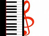 picture of clefs  - The treble clef and the piano keys - JPG