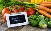 picture of farm  - Fresh organic vegetable in season on old farm table - JPG
