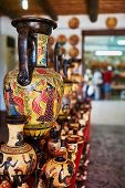 stock photo of pottery  - Shop with pottery on the island of Rhodes - JPG