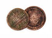 foto of copper coins  - Ancient coins isolated on the white background - JPG