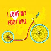 picture of big-foot  - Hand drawn pink foot bike with blue wheels on bright green background - JPG